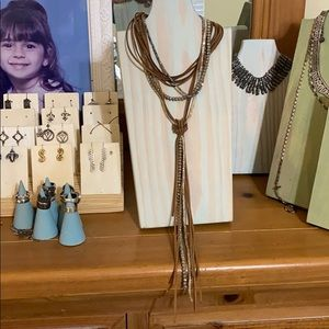 Jewelry - Leather and seed pearl lariat necklace